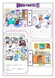 English Worksheet: house parts (2)
