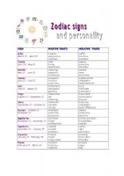 English Worksheet: Zodiac signs and personality