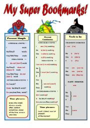 English Worksheet: MY SUPER BOOKMARKS PART 3! _ FUNNY GRAMMAR AND VOCABULARY BOOKMARKS FOR KIDS (2 pages: Present Simple, Presenr Cont., Ordinal numbers 1-1000, present and past forms of to be, common irregular verbs) EDITABLE!!!