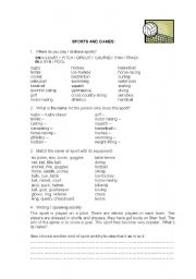 English Worksheet: Sports, places and equipment