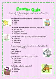 English Worksheet: Easter Quiz