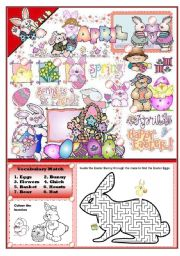 English Worksheets: EASTER FUN ACTIVITY SET (elementary)