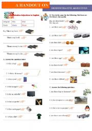 English Worksheets: Demonstrative Adjectives in English