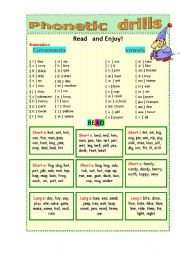 English Worksheet: Phonetic drills   2 pages!
