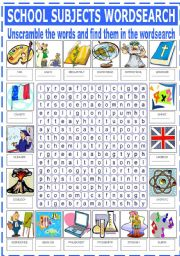 English Worksheet: SCHOOL SUBJECTS - WORDSEARCH