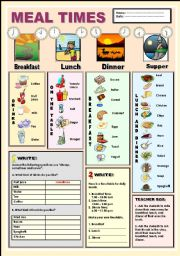 English Worksheets: Meal times