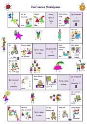 English Worksheet: Continuous Boardgame
