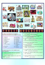 English Worksheet: Public Buildings and Shops