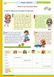 English Worksheet: The 1st 45-minute-lesson (of 2) on the topic Describing People -- Reading Comprehension for Upper Elementary and Lower intermediate students