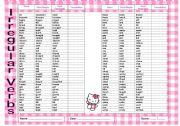 English Worksheet: List of Irregular Verbs