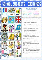 English Worksheet: SCHOOL SUBJECTS - EXERCISES
