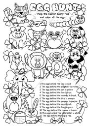 English Worksheet: Egg Hunt I