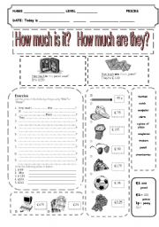 english worksheets how much is it how much are they. Black Bedroom Furniture Sets. Home Design Ideas