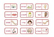 English Worksheet: Body parts domino (editable)