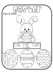 image relating to Color by Number Easter Printable titled Easter - ESL worksheet by way of rmmd