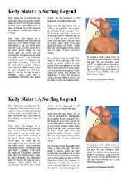 English Worksheet: KELLY SLATER : A SURFING LEGEND