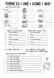 worksheet: THERE IS / ARE + SOME ANY