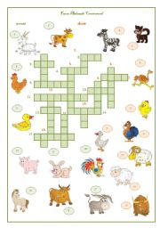 English Worksheet: Farm Animals Crossword