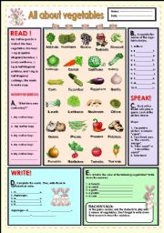 English Worksheet: All about vegetables