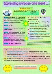 English Worksheet: EXPRESSING PURPOSE AND RESULT