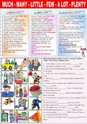English Worksheet: MUCH - MANY-  LITTLE - FEW- A LOT (OF) - PLENTY