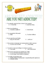 English Worksheet: Internet Addiction Questionnaire