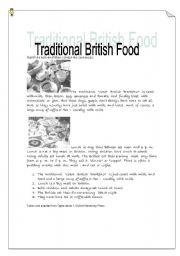English worksheet: traditional British Food -