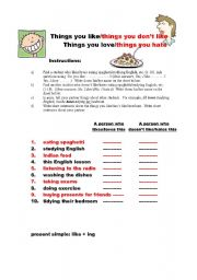 English Worksheets: Things you like/love and things you hate