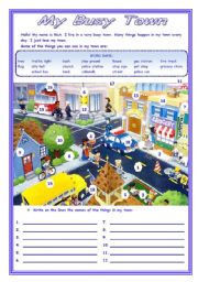 English Worksheets: MY BUSY TOWN    - 3 pages -