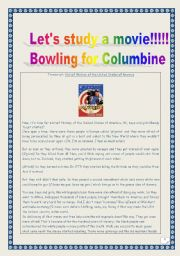 Video time: extract from BOWLING FOR COLUMBINE (hIstory of the USA CARTOON): COMPREHENSIVE lesson plan & worksheet (Printer-friendly: 4 PAGES)