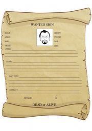 English Worksheet: WANTED SIGN (writing activity+lesson plan)