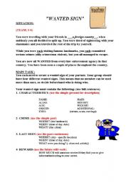 English Worksheets: WANTED SIGN (task-written production)