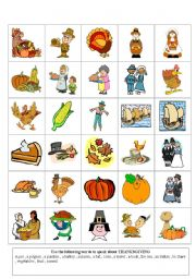 English Worksheet: thanksgiving flashcards