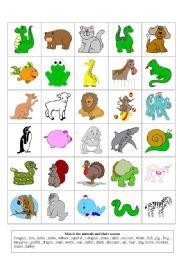 English Worksheets Animals Flashcards
