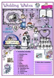 English Worksheet: WEDDING VOCABULARY (8 pages) Adjectives, verbs, adverbs synonyms
