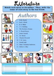 English Worksheets: Literature...Match each of the following popular stories to their authors.