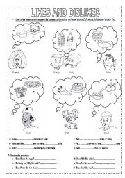 English Worksheets: LIKES AND DISLIKES (2 pages)