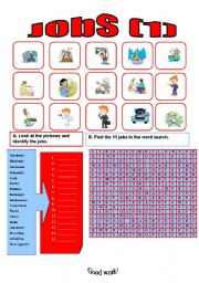 English Worksheets: Jobs wordsearch (1)