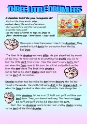 English Worksheet: Three Little Drumlees (2pgs)( using context clues with a familiar tale)