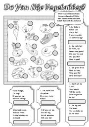 English Worksheet: FUNNY VEGETABLE RIDDLES! - MATCHING ACTIVITY