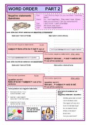 English Worksheets: Word order part 2 negative statements and questions  (2/7)