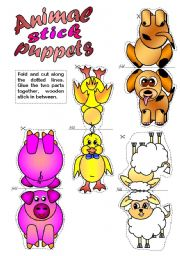 English Worksheet: Animal Stick Puppets (B & W included)