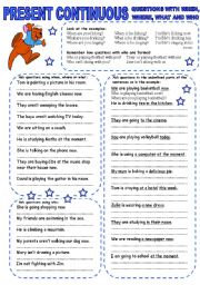 English Worksheet: PRESENT CONTINUOUS (4) QUESTIONS WITH WHEN, WHERE, WHAT AND WHO