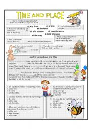 English Worksheets: time and place