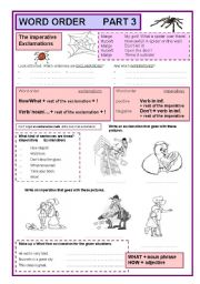 English Worksheets: Word order part 3 imperatives and exclamations (3/7)