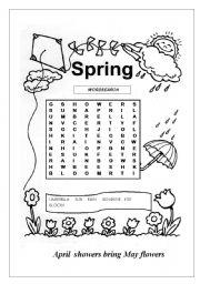 graphic regarding Spring Word Search Printable identified as SPRING WORDSEARCH - ESL worksheet through valleygirl