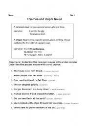 English Worksheets: Common and Proper Noun