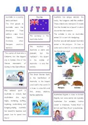 English Worksheet: ENGLISH-SPEAKING COUNTRY (3) - AUSTRALIA