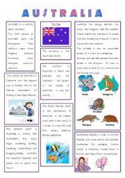 English Worksheet: ENGLISH-SPEAKING COUNTRY (3) - AUSTRALIA