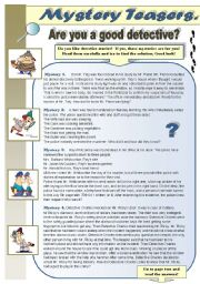 English Worksheet: MYSTERY TEASERS! PART 1 - reading activity - amazing detective brain teasers for you and your students (WITH KEYS)